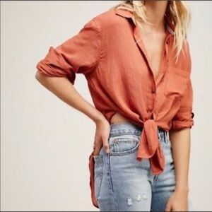 Free People that's a wrap Rust Button Front Shirt